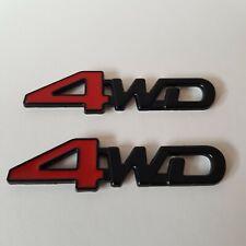 4WD Metal Badge x2 Red Black 3D Emblem Sticker for Cars 4x4 4 Wheel Drive SUV