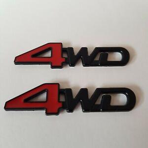 4WD Metall Abzeichen x2 Rot Schwarz 3D Emblem für Honda Crv Hrv Insight Civic