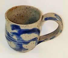 Slipware Look MUG/CUP STONE GRAY & BLUE Old Primitive Style New USA made_of_clay