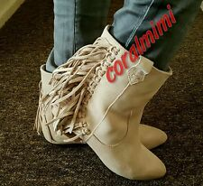ZARA NEW BEIGE REAL LEATHER FLAT ANKLE BOOTS WITH FRINGE SIZE 5