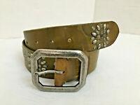 Women's Western Brown Leather Look Studded Belt Sz M