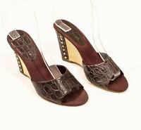 EUC Bandolino Brown Leather Snakeprint Wedge Slip Ons US 6M