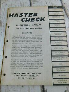 VTG Lincoln Mercury ORIGINAL Instruction Manual 1946-1950 Models Master Check