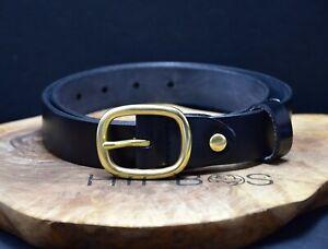 Vintage Mens Womens Leather Jeans Belt Solid Brass Buckle Black Size 30
