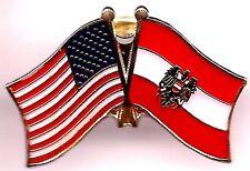 Lot Of 3 Austrian w/Eagle Friendship Flag Lapel Pins - Austria Crossed Flag Pin