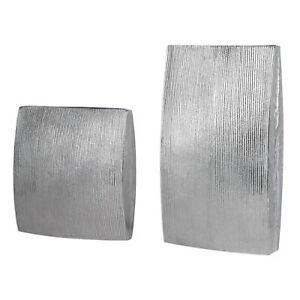 Large Ribbed Cast Aluminum Vase Set Pair | Rectangle Modern Flat Sculpture Metal