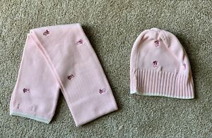 Lands End Girls Pink Knit Hat & Scarf With Ballet Shoes Design. Size M (10-12)