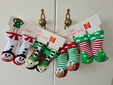 Baby Christmas Socks 4 Pairs Novelty Characters 0-3, 3-12 Months Brand New
