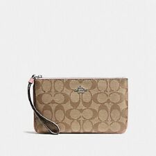 NWT Coach F58695 Large Wristlet Wallet in Signature Coated Canvas Petal