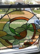 """Vintage Stain Glass  Leaded Window Hanging Decoration Picture 26"""""""