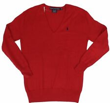 Polo Ralph Lauren Womens Sweater V-Neck Cotton Blend Relaxed Fit Red Navy Pony S