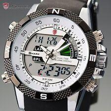 Men's SHARK Digital LCD Army Date Day Quartz Sport Rubber Strap Military Watch