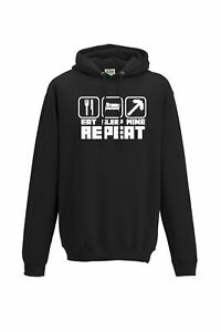 Eat sleep mine repeat hooded top craft hoodie all sizes adults & kids
