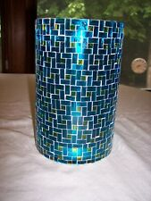 "Cracker Barrel Blue & Green Mosaic 7 3/4"" Hurricane Candle Holder"