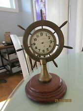 Antique New Haven Brass Nautical Ships Wheel Clock missing Hands