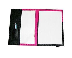 Schreibmappe A4 aus Filz pink-anthrazit mit Block
