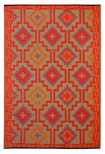 Outdoor Rug Lhasa Orange,  Recycled Plastic Mat, Decks, Camping, Garden