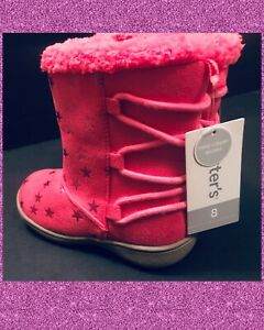 NEW! Girls 8 CARTERS Pink WINTER LINED FUR TOPPED BOOTS side ZIP. . Twins!   $45