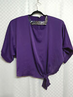 RIVER ISLAND Cropped Top Size L Purple Kimono Style Front Knot Short Sleeve