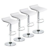 Set of 4 Bar Stools PU Leather Adjustable Swivel Pub Chair Kitchen Dining White