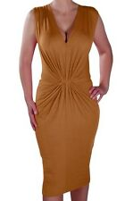 Womens V Neck Plain Sleeveless Ruched Knee Length Formal Dress Bodycon