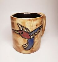 "Mara Mex Stoneware Mug -  Hummingbird Dragonfly 16 oz  Round 4"" Signed"