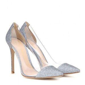GIANVITO ROSSI Plexi Clear Sparkle Silver Shoes Pumps Heels Bridal Wedding