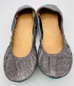 TIEKS by Gavrieli Women's Slate Grey Patent Leather Croc Print Flats Size 7