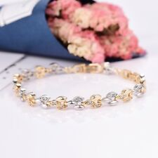 Grace Lady White Sapphire Crystal Yellow Gold Filled Beads Tennis Chain Bracelet