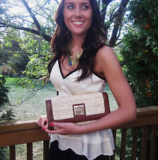 KATE SPADE STRAW WICKER LEATHER FOLLY BEACH MAKENZI CLUTCH BAG METALLIC turnlock