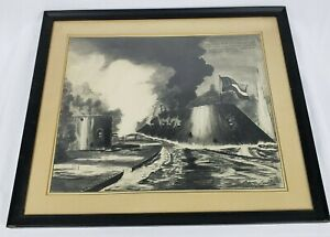 USS MONITOR ENGAGES THE CSS VIRGINIA -PENCIL ON PAPER- P. LACOMBE- AMAZING