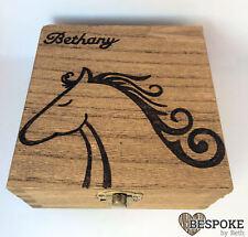 Personalised Wooden Memory Box Jewellery Keepsake Horse Equine Gift Christmas