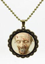 Zombie The Walking Dead Cabochon Tibetan Bronze Glass Pendant Necklace