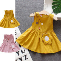 Toddler Kids Baby Girls Sleeveless Casual Flower Princess Dress Sundress Cloth
