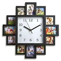 MULTI WALL CLOCK FEATURE WALL DIAMANTE/ PHOTO CLOCK HOME DECOR