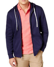 New Mens Club Room Navy Full Zip Jersey Fleece Hoodie Sweatshirt Track Jacket L