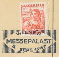 """ÖSTERREICH SONDERSTEMPEL 1937 """"WIENER MESSEPALAST 8. SEPT. 1937"""""""