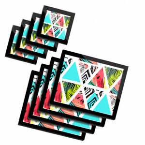 4x Glass Placemates & Coasters  - Tropical Palm Tree Watermelon Print  #16896