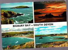 used John Hinde Postcard, Devon, Multiview  Bigbury Bay, pm1977
