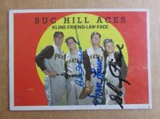 1959 TOPPS BASEBALL BUC HILL ACES FACE LAW FRIEND SIGNED AUTOGRAPH CARD PIRATES