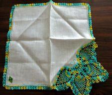 Vintage Pure Linen Handkerchief Made in Ireland Fancy Crochet Butterfly Perfect!