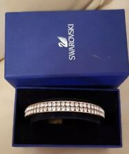 Genuine Swarovski Gold coloured Bangle in box 2 rows clear crystals swan stamps