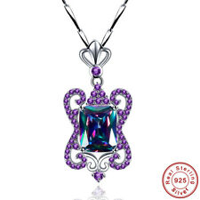 Noble Gifts Rainbow Topaz Amethyst S925 Sterling Silver Pendant Chain Necklace