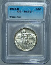1937 D Oregon Trail Commemorative Silver Half Dollar ~ ICG MS66+, NICE COIN!!!