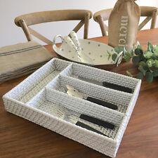 White Rattan Cutlery Holder/Tray/Drawer Organiser/Kitchen Storage Tray