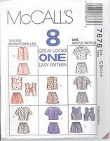 McCall's 7676 Girls' Tops and Pull-On Shorts - Sewing Pattern