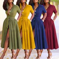 Womens Long Sleeve Button Maxi Shirt Dress Party Cocktai Tie Waist Maxi Sundress