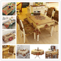 Vintage Brown Embroidered Lace Tablecloth Fabric Table Cloth Cover Wedding Party