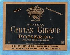 POMEROL ETIQUETTE CHATEAU CERTAN GIRAUD 1986 RARE §13/08§
