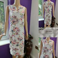 GEORGE Women Midi Dress Size 20 Linen Blend Pink/White Sleeveless Brill Cond